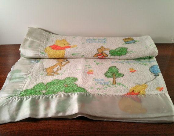 Vintage Winnie The Pooh Baby Blanket White By