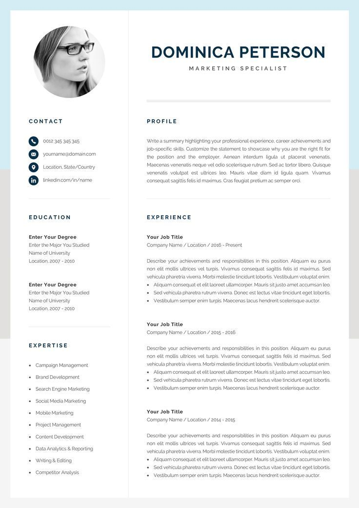 Modern Resume Template Creative CV with Photo 1, 2 Page
