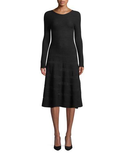 f74a220b6c04c Emporio Armani Long-Sleeve Ottoman-Jacquard Wool A-Line Midi Dress ...