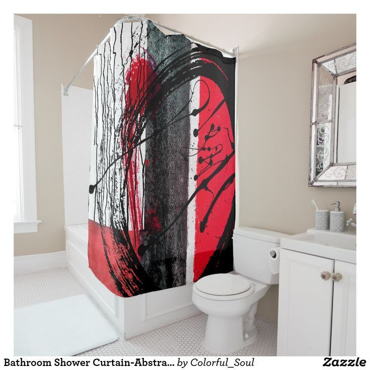 Bad Duschvorhang Abstraktes Design Roter Schwarzer Duschvorhang