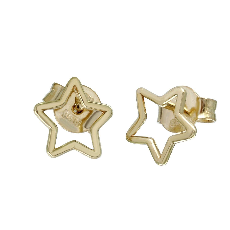 14k Italian Gold Hollow Star Earrings, Women's