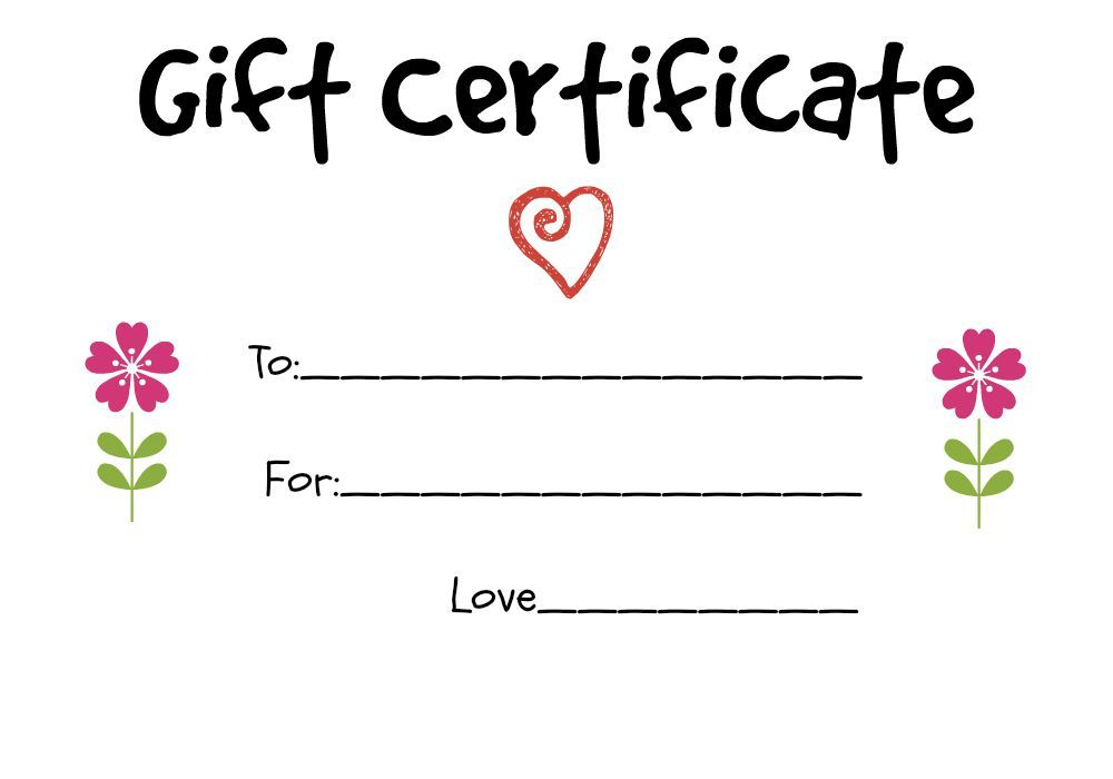 Gift Certificate Ideas For A Child To Give An Older Family Member