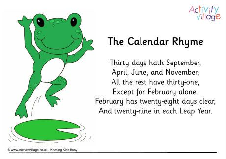 image about Leap Year Printable identify Calendar rhyme poster. Instructive for Soar 12 months! Click on for the duration of