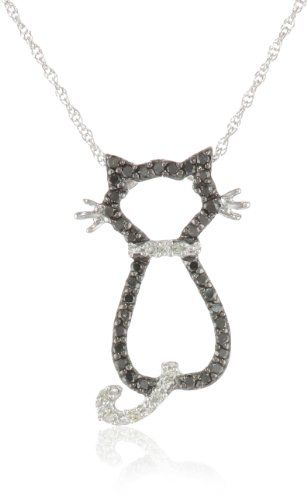 "XPY 14k White Gold Black and White Diamond Cat Pendant (1/5 cttw), 18"" for sale"