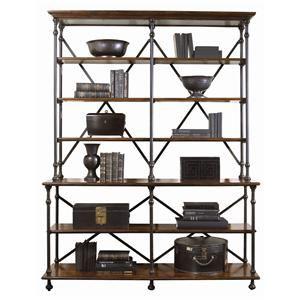 Bernhardt Vintage Patina Mahogany Bookcase With Metal
