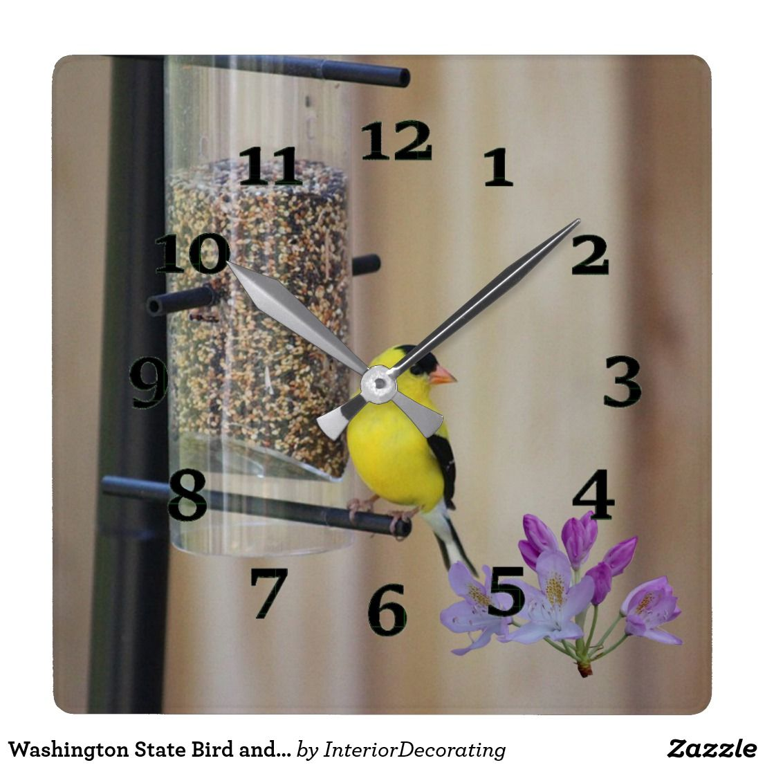 Washington State Bird And Flower Square Wall Clock