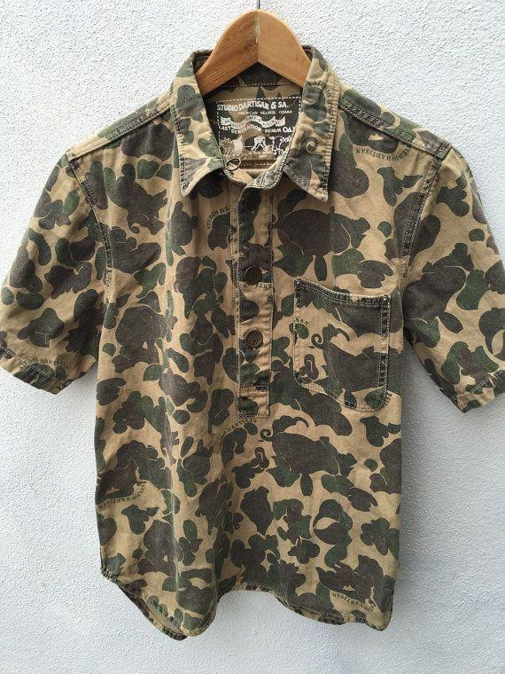 Rare Vintage Studio DArtisan & Sa Osaka rare indie punk japanese designer Camo Camouflage denim oax jeans pullover polo t shirt Made in Japa