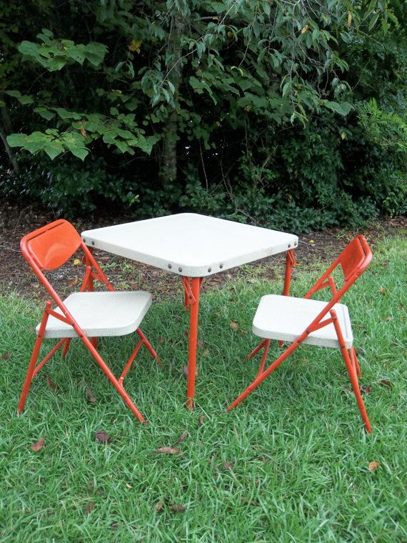 Vintage Childrens Furniture Card Table Chairs By Samsonite