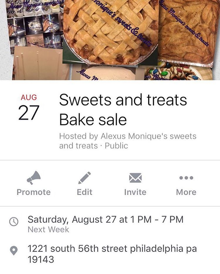 Stop by Alexus Monique's sweets and treats bake sale next Saturday August 27th from 1pm-7pm and be sure to grab you a few sweets and treats  cash debit and credit cards are accepted make sure you #tellafriend to tell a friend  #philly #philadelphia #bakesale #cake #cupcakes #pie #funnelcake #donuts #brownies #blondies #cookies #drinks #etc #phillysupportphilly #strawberryshortcakecups #bananapuddingcups #oreomoussecups #cheesecake #cheesecakecups
