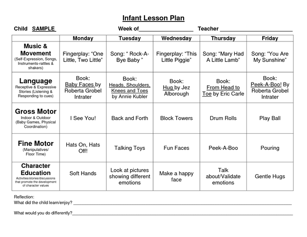 Provider sample lesson plan template school pinterest for Two year old lesson plan template