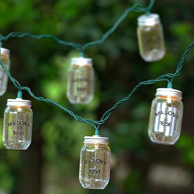 Canning Jar String Lights : Standing Wooden Cooler
