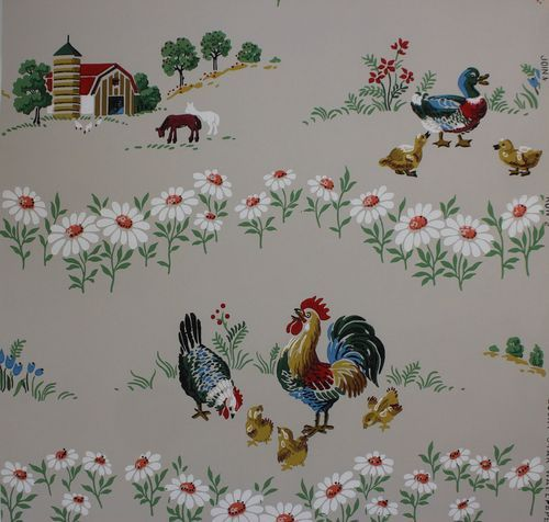 1940s Barnyard Chickens Ducks Vintage Wallpaper Vintage