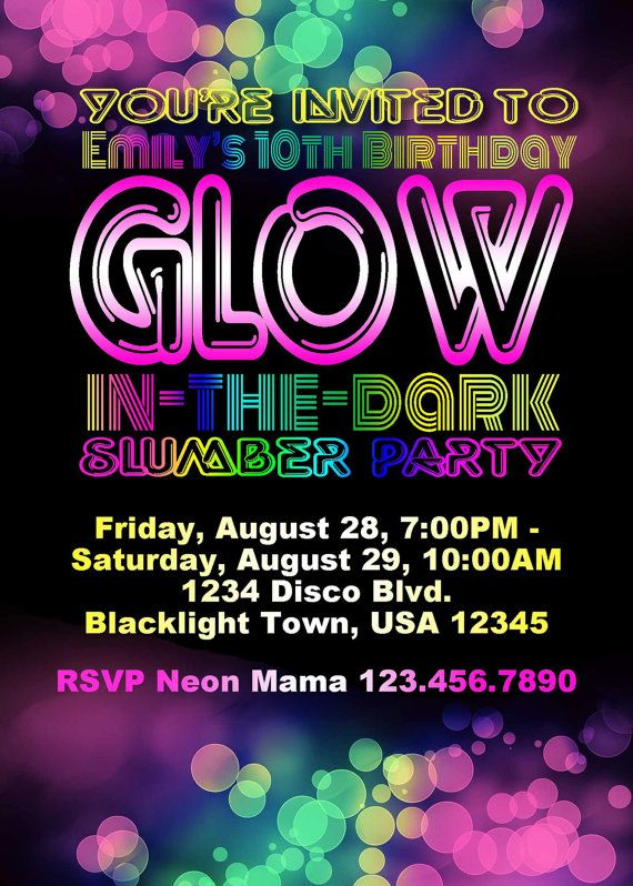 Glow In The Dark Birthday Party Invitation By Parchmentskies