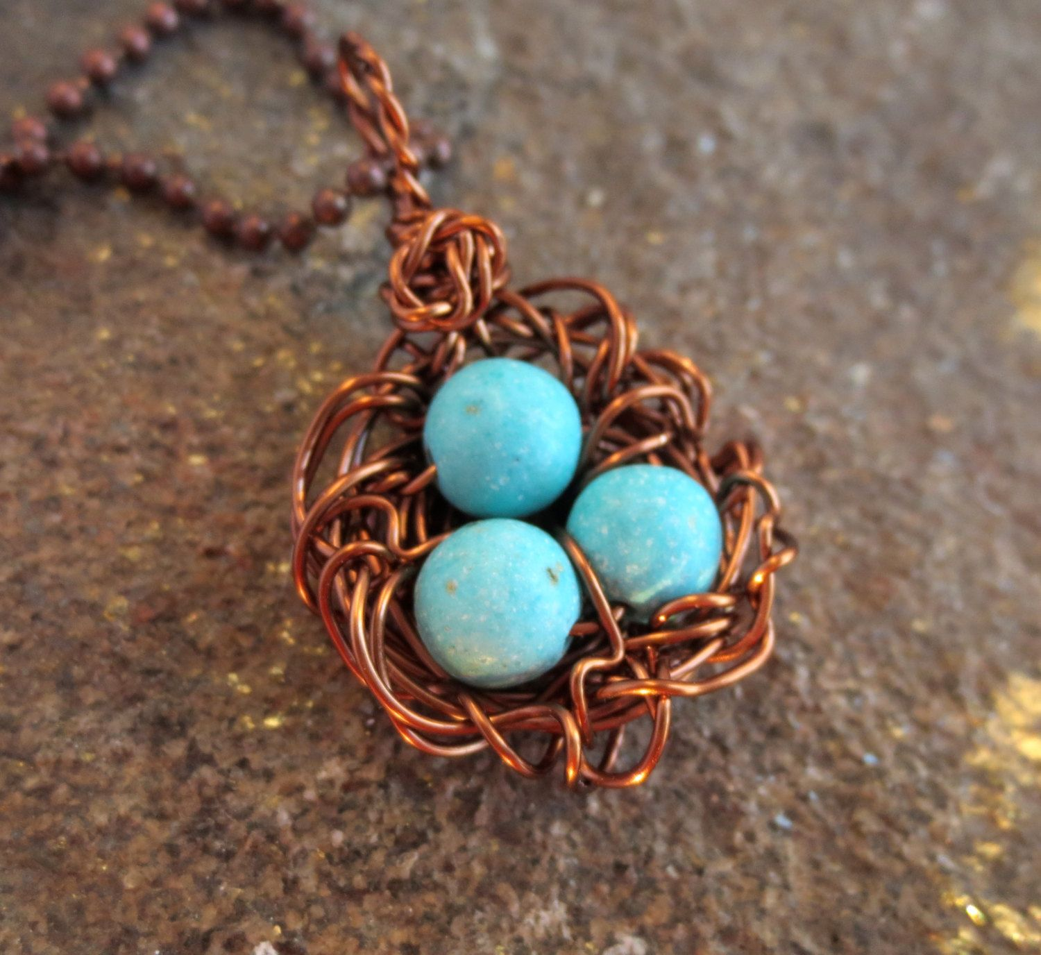 Birds nest pendant wire wrapped antique copper robins egg green blue birds nest pendant wire wrapped antique copper robins egg green blue turquoise bead by lttleevrydycreations on aloadofball Choice Image