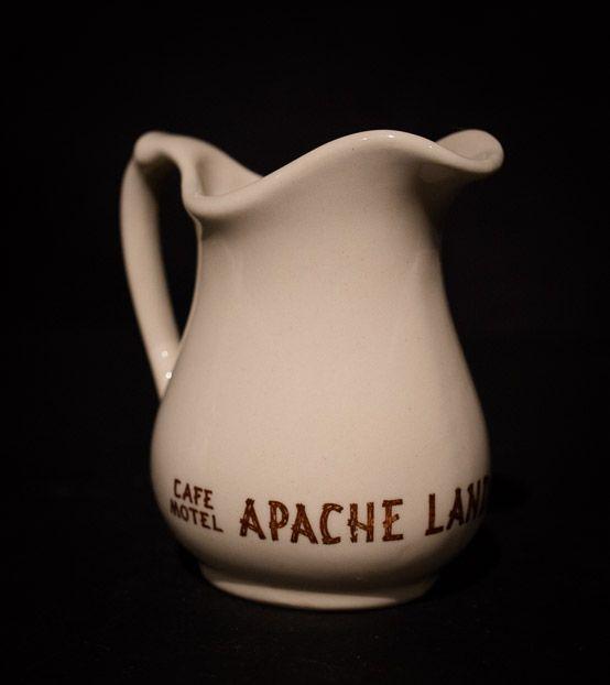 Apache Land Village, Globe, Ariz. Creamer  by Wallace China, 1954 Offered by Track 16. http://www.track16.com #restaurantware #restaurantchina