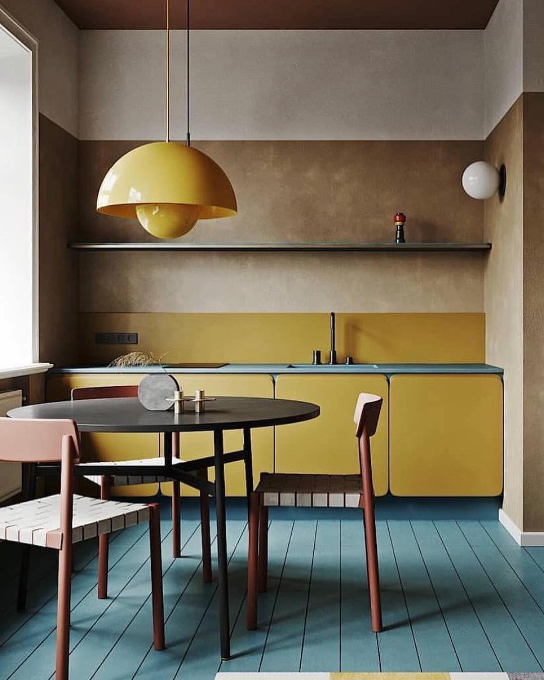 Kitchen Cuisine Yellow Ocre Jaune Bleu Couleur Vintage Retro
