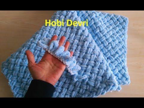 Making Baby Blanket with AlizePuffy, Alize Puffy İpi Sepet (Hasır) Örgü Bebek Battaniyesi Yapımı - YouTube #babyblanket