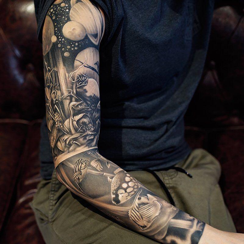 Black Sleeve Tattoo By Khantattoo Space Tattoo Sleeve Sleeve Tattoos Full Sleeve Tattoos