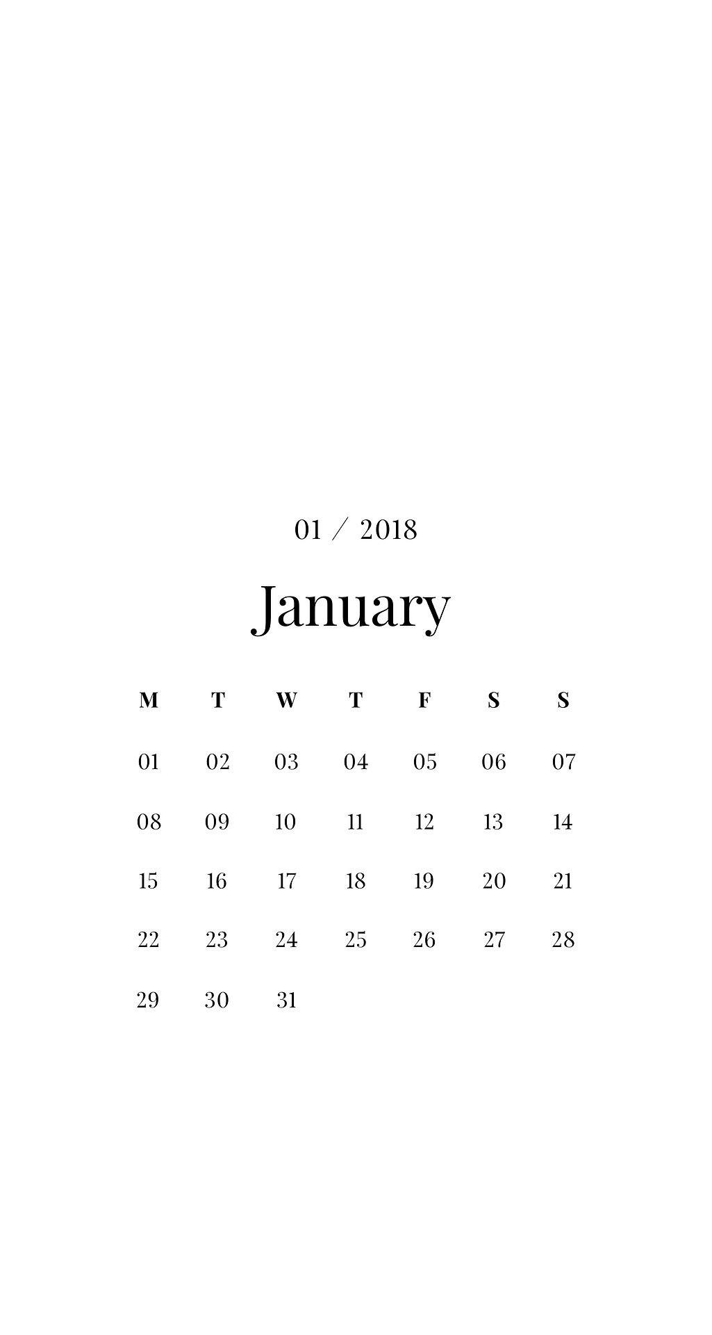 Emmas Studyblr January Minimalist Calendar Phone IPhone Wallpaper Background