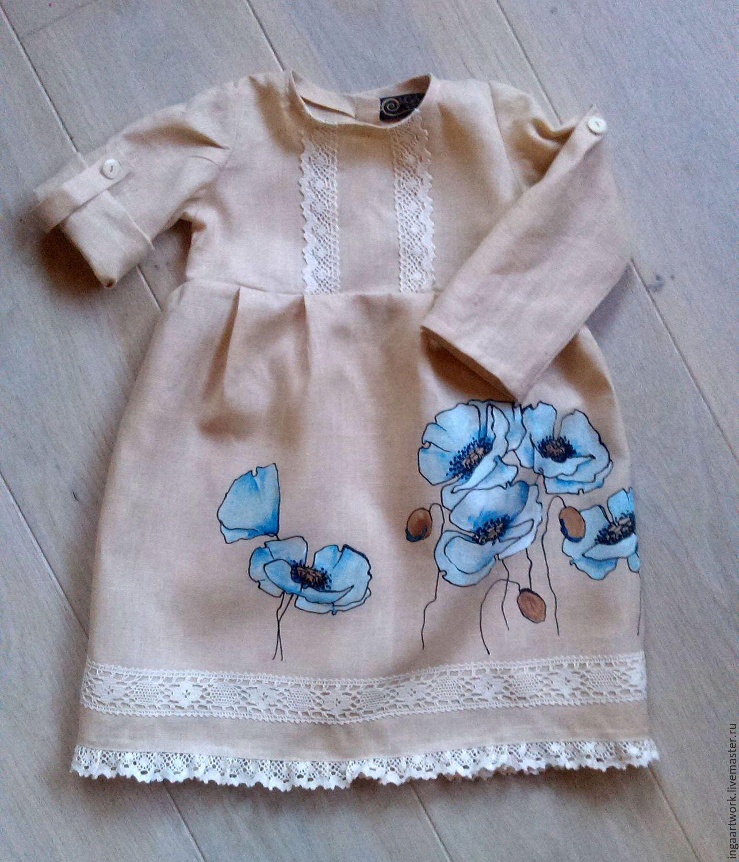 8f7a6c4ec1d Купить или заказать Льняное детское платье.Ручная роспись.  Маки  в интернет -