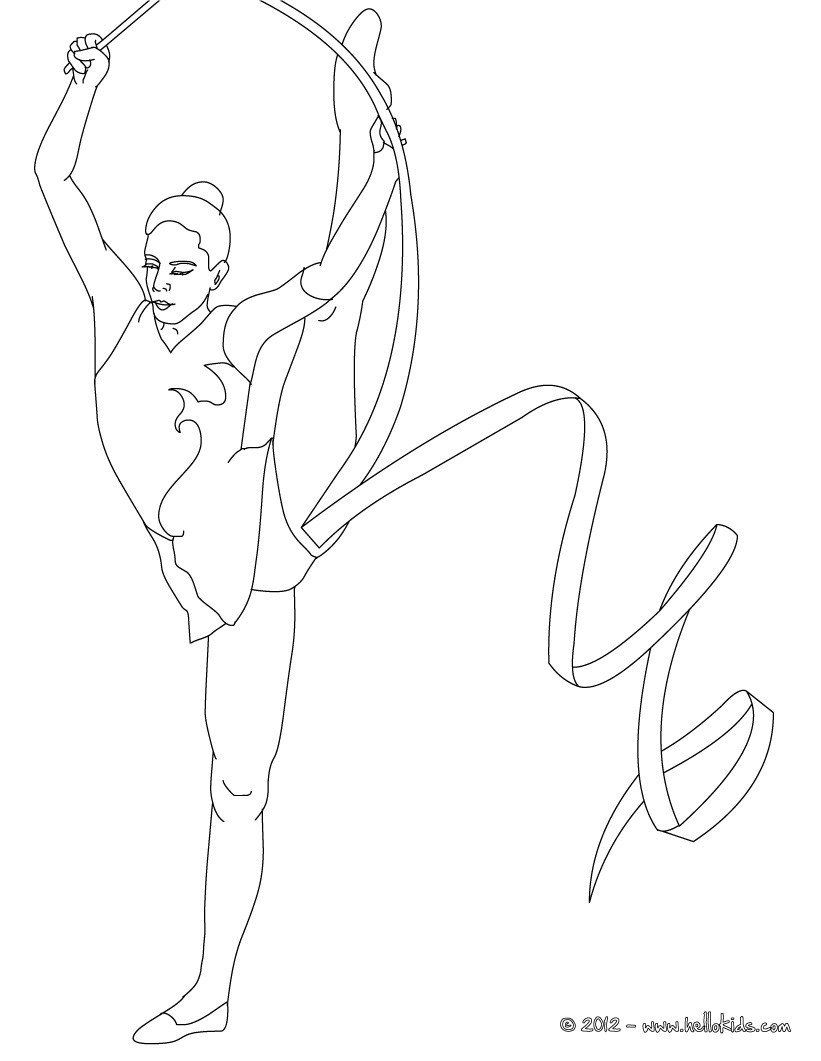 Gymnastics Coloring Pages To Print Ribbon Individual All Around Rhythmic Gymnastics Coloring In 2020 Sports Coloring Pages Coloring Pages For Girls Coloring Pages