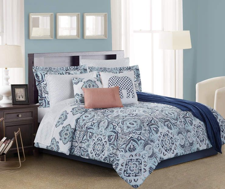 Living Colors Lucie Navy Aqua Coral Queen 12 Piece Comforter