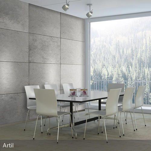 Betonoptik Wandgestaltung Wandpaneele, Gips und Wandgestaltung - futuristische buro einrichtung mit metall 3d wandpaneelen