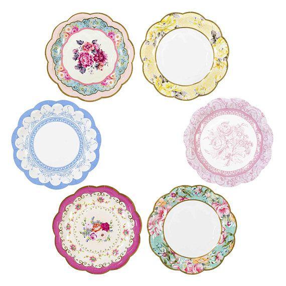 12 Vintage Tea Party Paper Plates, Vintage Tea Party, Baby Shower ...