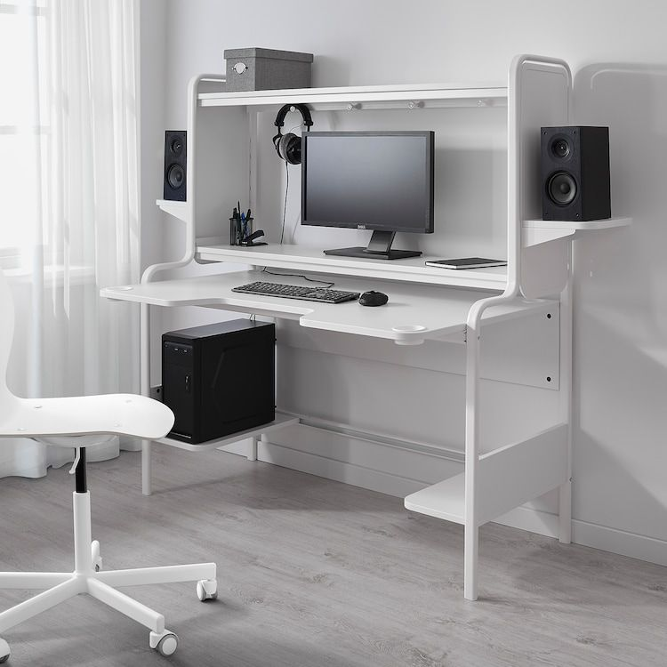 Fredde White Desk Ikea In 2020 Ikea Gaming Desk Gaming Desk Designs Gaming Desk