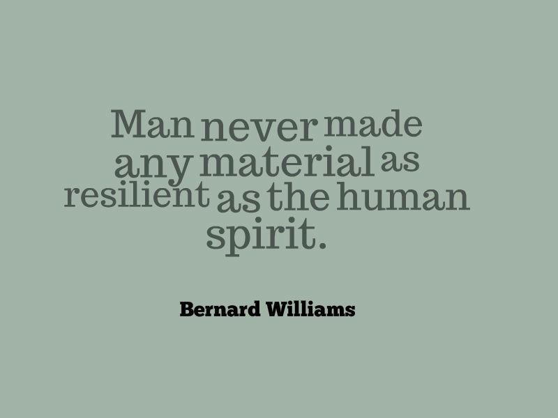 Bernard Williams Man Never Made Any Material As Resilient As The