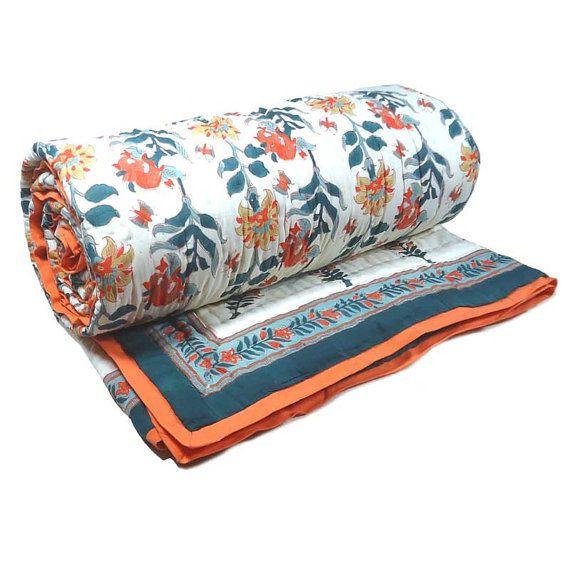 King Quilt Floral GHANI BOOTI by Roopantaran on Etsy, $210.00 #etsy #peachandblue #handmade #fabric #quilt