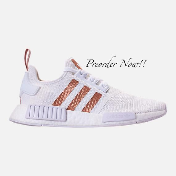 Swarovski Womens Adidas Originals NMD R1 White   Gold Sneakers Blinged Out  With Authentic Clear Swarovski 5b4041220
