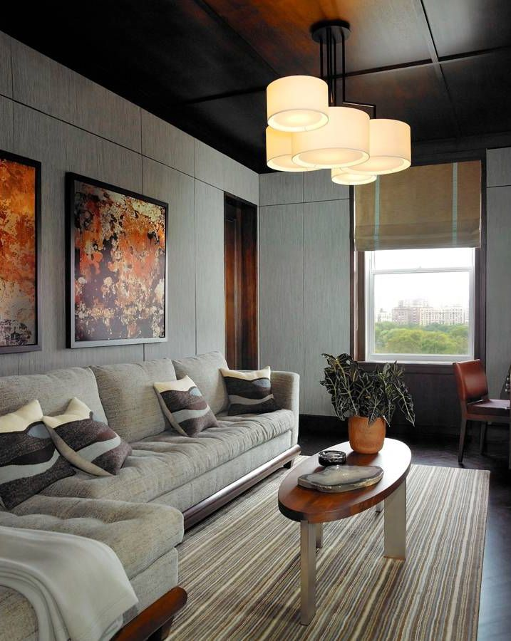 Residential Interior Project Has Modern Yet Vintage Take: Living Room Design Feature Wall Behind Sofa