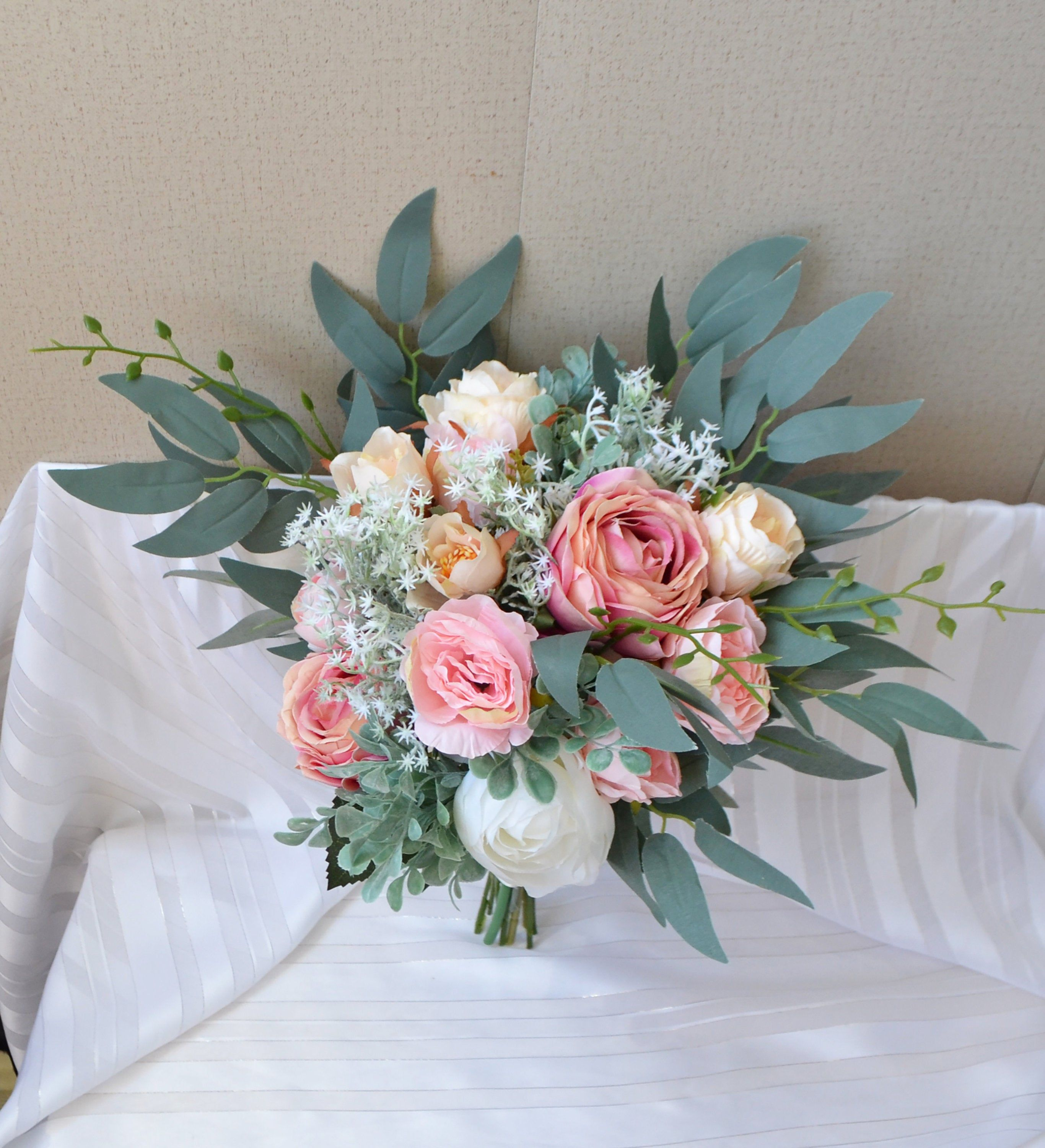 boutonniere and comb set of 2 Blush peony flower comb with eucalyptus leaves for wedding