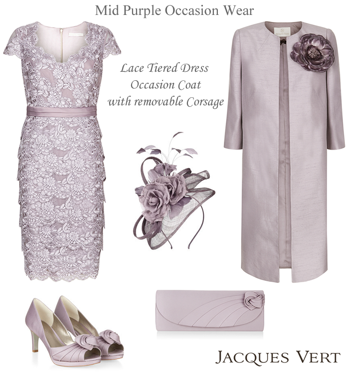 9ea80de6689d Jacques Vert mauve occasion frockcoat with detachable corsage flower.  Mother of the Bride mid purple lace dress and coat outfits shoes bag and hat