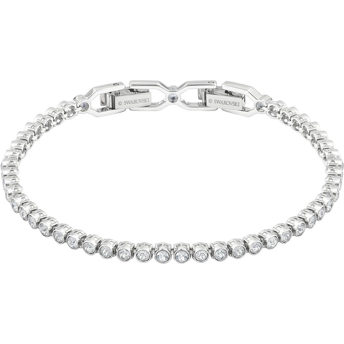 Emily Bracelet White Rhodium Plated By Swarovski Silver Necklace Designs Silver Jewelry Handmade Mens Bracelet Silver
