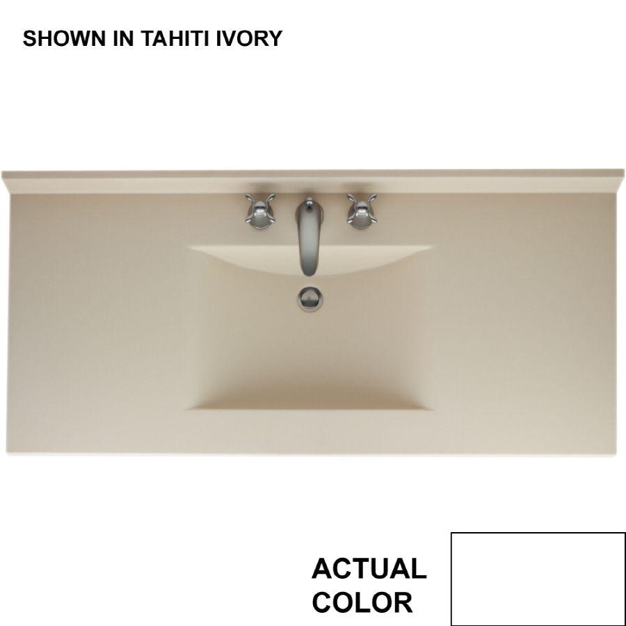 Swanstone Contour White Solid Surface Rectangular Bathroom Vanity - Bathroom vanity tops 43 x 22 for bathroom decor ideas