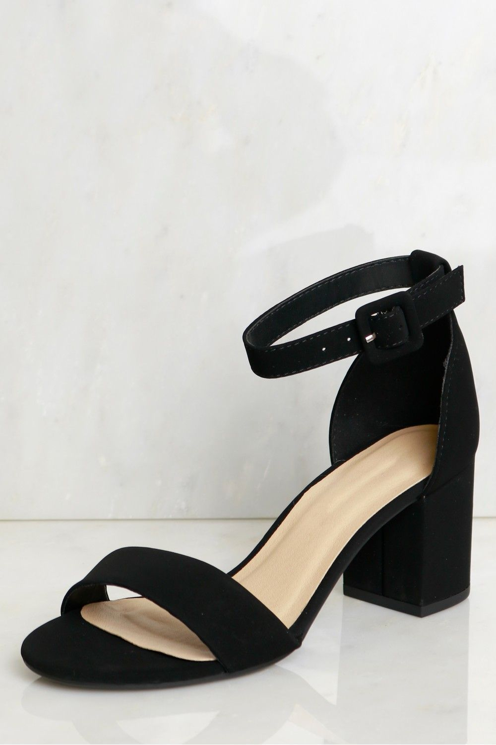 c34b676f02 Low Strappy Heel Black, A classic low chunky heel with a single strap  across the toes and a single strap around the ankle with a buckle closure.