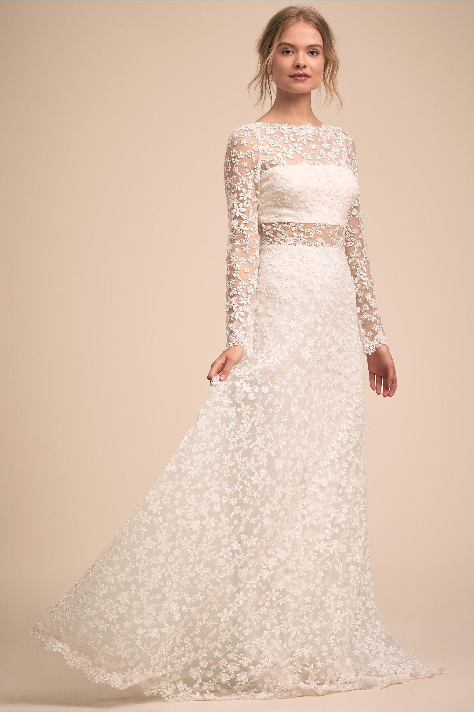 Bhldns Tadashi Shoji Celestine Gown In Cloud White Products