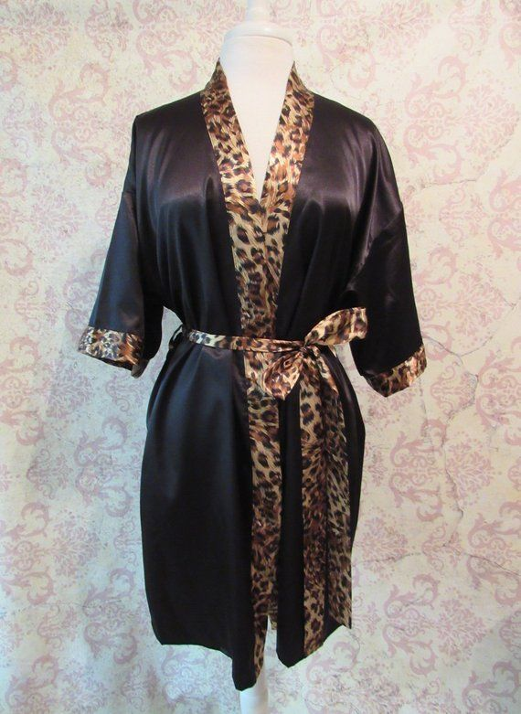 c761a115e7aa Leopard Print Satin Robe in Black // Animal Print Lingerie, Dressing Robe