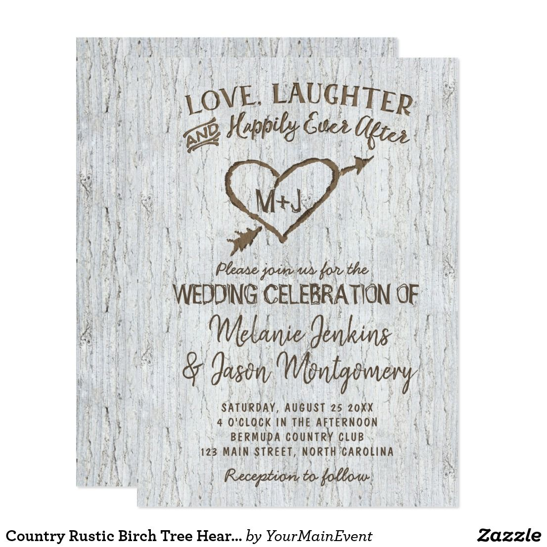 Country Rustic Birch Tree Heart Wedding Invitation | Heart wedding ...