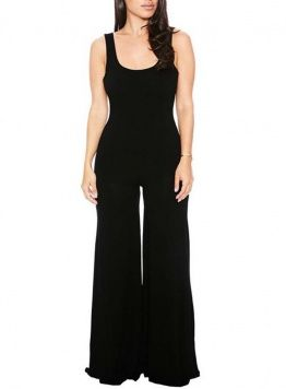 Fvogue High Quality Close Fitting Elastic-Flying Sleeveless Hollow Out Long Bell-Bottoms Jumpsuits