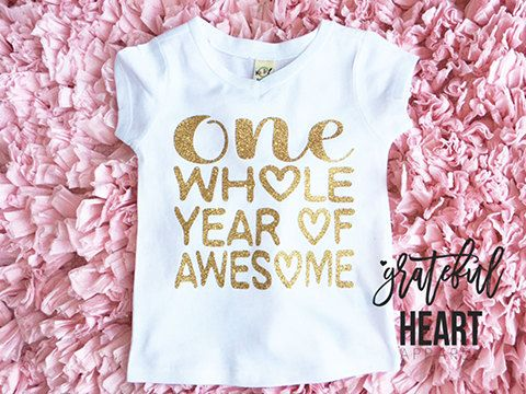 ad2082918 One year old shirt, First Birthday outfit, Birthday girl shirt, Gold ...