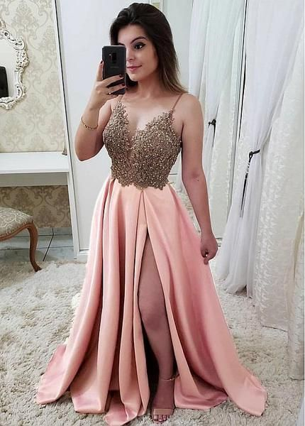 5cba776101 Shop 2019 Satin Spaghetti Straps Pink A-line Evening Prom Dress With Beaded  Lace Appliques