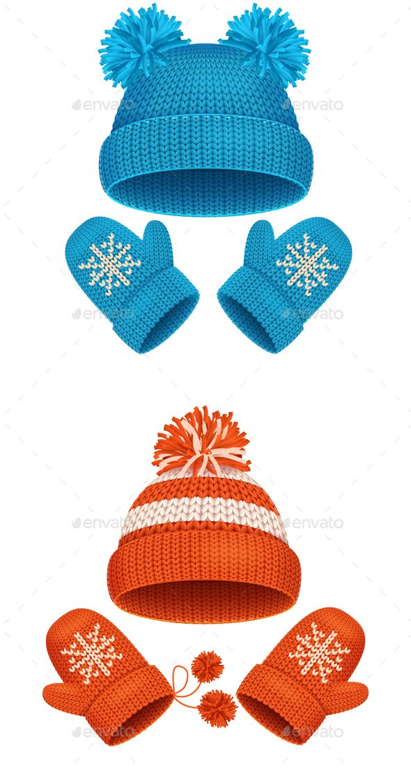 Hat And Mitten Set Winter Accessories Vector Winter Accessories Mitten Hats