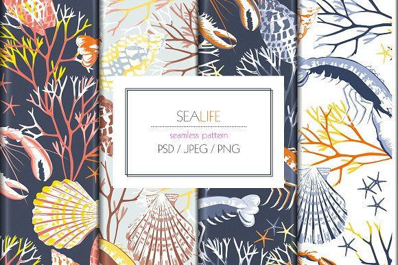 Seamless SeaLife Print Design by Exquisite Prints on @creativemarket