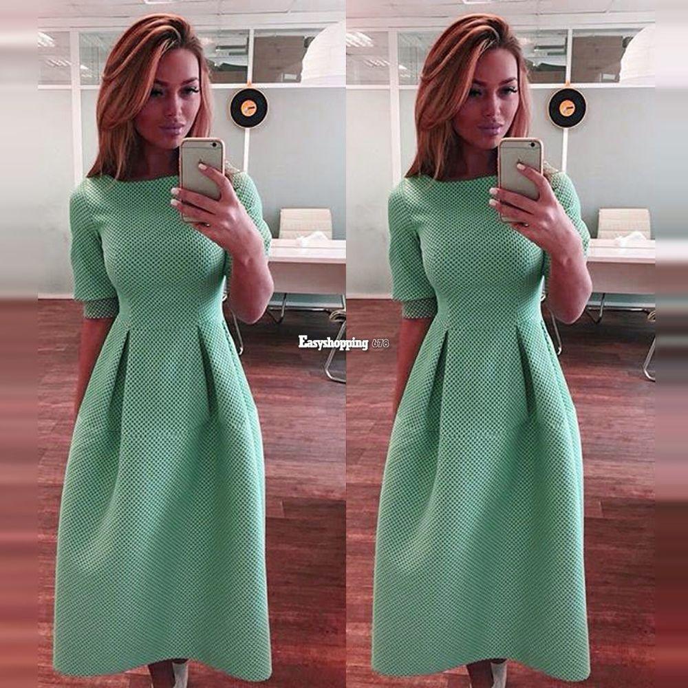 Elegant slim solid casual short sleeve high waist women cute long