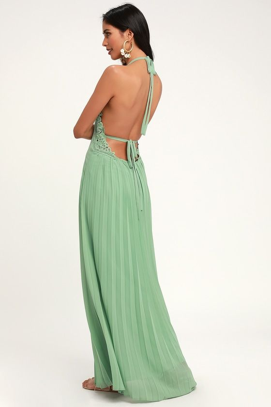 Lulus | Encinitas Sage Green Lace Pleated Halter Maxi Dress | Size Large | 100% Polyester #sagegreendress