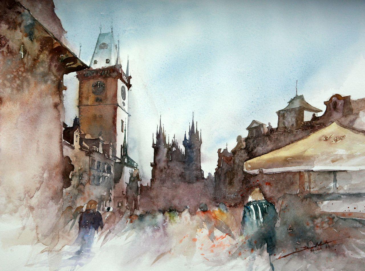 Praha City Hall, 42x56cm, 2008 www.minhdam.com #architecture #watercolor #watercolour #art #artist #painting #prague #czech