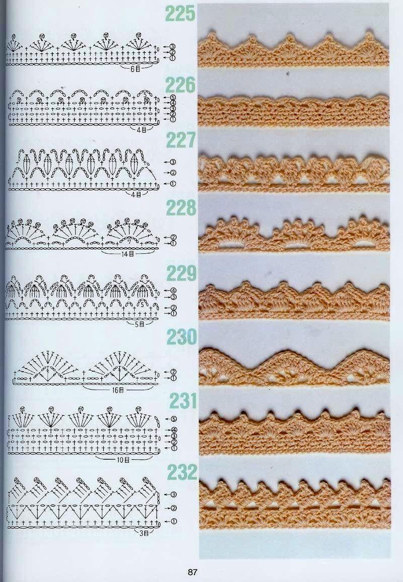 Кайма крючком схемы. Очень много схем вязания каймы! | кайма-бордюры ...